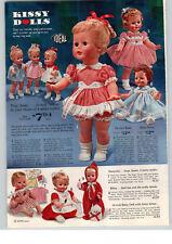 1963 PAPER AD Ideal Kissy Dolls Deluxe Baby Smoochie Bibsy Toddler Walker