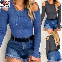 Womens Cold Shoulder Long Sleeve Slim Tops Blouse Casual T-Shirt Pullover Tee US