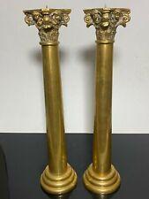 2pc RARE Brass Art Nouveau Cherub Putti Tall Pillar Candle Holders