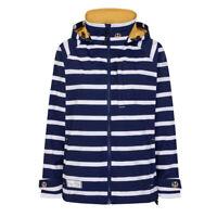 Lazy Jacks Ladies Womens Stripped Waterproof  Raincoat Jacket Harbour Blue