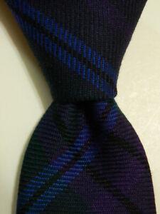 BONOBOS Men's 100% Wool Necktie USA Designer PLAID CHECKS Purple/Blue/Green EUC