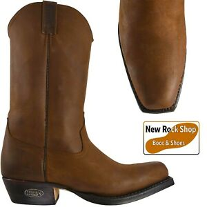 LOBLAN 000 HR Brown Waxy Unisex Leather Western Cowboy Boots UK Size 8 - 12