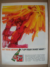 1967 VTG Orig Magazine Ad 7 Up Soda Drink Cheerleading Illustrated Real Action
