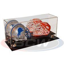 1 case BCW for 2 Double MINI HELMET DISPLAY CASE W/ MIRROR - Football Hockey  3D