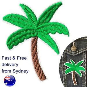 Palm tree iron on patch - holiday beach plant trees embroidery iron-on patches