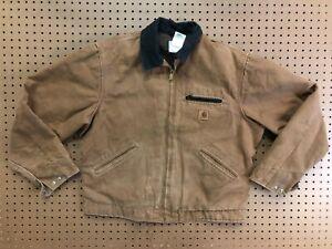 MENS LARGE - Vtg Carhartt J97 Sandstone Blanket Quilt Lined Detroit Jacket