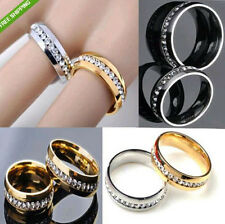 30 X Comfort Fit inside 6mm Zircon Stainless Steel Rings Wholesale Jewelry Lots