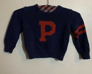 Polo Ralph Lauren Toddler Size 3T Navy Red Knitted Logo Sweater Made In Japan