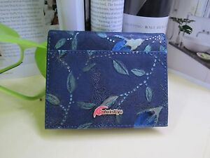 NEW - Ms Green short Leather Wallet -Green Leaves & Light Blue Flowers with Tags