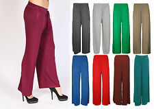 WOMENS PALAZZO TROUSERS LADIES WIDE LEG FLARED LOOSE PANTS LADIES-SIZE 8-16