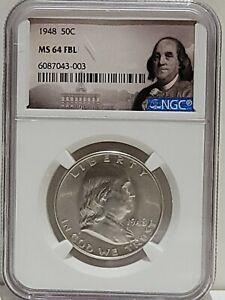 1948 Franklin Half Dollar NGC MS 64 FBL