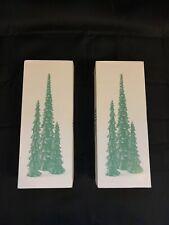 2 Boxes Of Vintage Dept 56 Village Accessories Pencil Pines Trees #5246-9-Oom