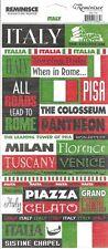 Reminisce ITALY PHRASES Scrapbook Stickers