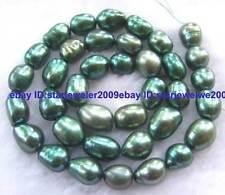 Grass Green 8x10-8x12mm Freshwater Pearl freeform Beads 14''