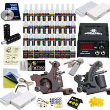 Beginner Tattoo Kit 2 Machine Guns 40 Color inks Needles Grip Tips Power Supply