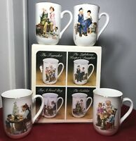 Vintage Norman Rockwell Mugs Set of 4 Classic Series Gold Rimmed New in Box