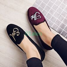Womens Ladies Spring Slip On Comfort Velvet Flats Loafers Fashion Floral Shoes
