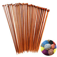 36PCS/Set 18 Sizes Single Pointed Carbonized Bamboo Knitting Needles 2mm - 10mm