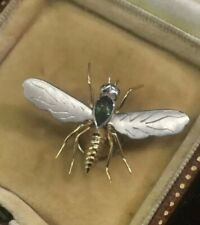 gem set bug / fly pin brooch 18ct & platinum