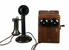Antique 1915 Western Electric Candlestick Telephone, Walnut Ringer Box WORKING