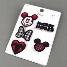 NEW Disney's MICKEY MOUSE Fabric/Embroidered 5 Pin Set-RARE & HTF-NWT