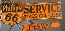 PHILLIPS 66 SERVICE DOUBLE SIDED (ONE SIDED ARROW) RUSTIC HANGING METAL SIGN