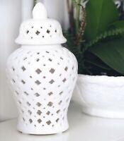 White Clover Petite Porcelain Temple Jar 20cm(H) Hamptons Coastal Home Decor ©