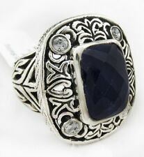 GENUINE 9.18 Cts CHECKERBOARD BLUE SAPPHIRE FILIGREE RING .925 Sterling Silver