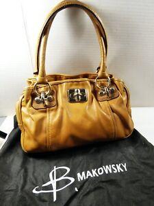 B Makowsky Camel color Leather Satchel Handbag with Gold & Silver Metal