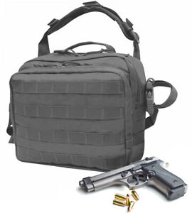 Gray Nylon Pistol Concealment Shoulder Bag Gun Holster Shooter Square Briefcase