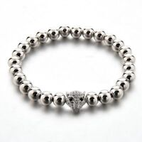 Men's18k White Gold Plated Bracelet with Tiger Head + Box+Free Shipping