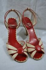 MOSCHINO Cheap & Chic red and ivory leather heeled sandals 38 shoes open toe