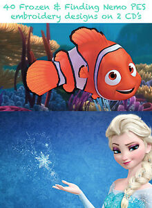 FINDING NEMO & FROZEN 80 EMBROIDERY MACHINE DESIGNS ON 2 CD SAME DAY POSTING 035
