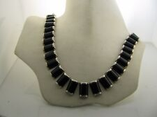 Sterling Silver Inlayed Onyx Necklace
