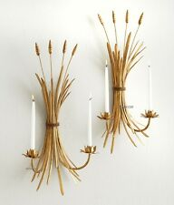Antique Gold Iron Wheat Sheaf Sconce Pair Candle Holder Wall Light ~ Set Of 2