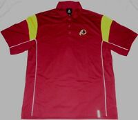 Washington Redskins Victory Polo Shirt Large Red Embroidered Logos Reebok NFL