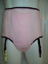 "Pink SHEER 2 Layer NYLON Sleeve PANTIES BRIEFS Stocking GARTERS Waistband 32-44"""