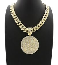 Hip Hop Ice Bling Miami Cuban Chain 69 Piece Pendant Necklace 14k Gold Plated