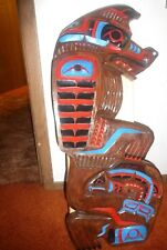 "Northwest Coast First Nation Unique Deep Hand Carved Cedar""Bear-Salmon""carving."