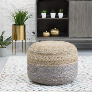 Grey Jute Ottoman Pouf Cover Solid Decor 14x18x18 In Jute Pouf Round Footstool