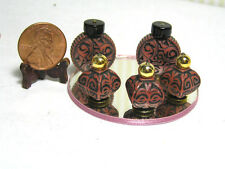 "Dollhouse Miniature Barbie Perfume Bottles Rust w/ Round Maroon Mirror 2"" scale"
