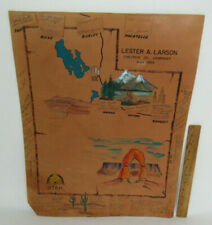 """VTG 1969 LESTER A LARSON CHEVRON OIL COMPANY SIGNED LEATHER POSTER 23 1/2"""" TALL"""