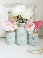 Painted Mason jars set of 3 - Perfect for Weddings/ Home Decor/centerpieces
