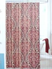 fabric shower curtain brown tan burgundy scroll moroccan style