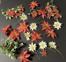 Vintage Mid Century Plastic Christmas Flower Picks~Lot of 20~Poinsettia Holly