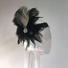 Bandeau Plume+Voile Mariage Serre-tête Accessoire Cheveux Cadeau Femme Noir