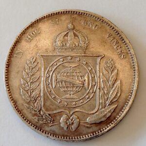 ~ 1863 Imperial Brazil 2000 Silver Reis Dom Pedro II