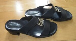 Naturalizer Womens Navy Blue Leather Slide Sandals 7.5 W