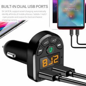 Bluetooth 5.0 FM Transmitter Car Kit MP3 Wireless Dual USB Fast Charger 3.1A