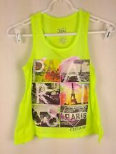 Justice Girl's sz Yellow Cotton Blend Sleeveless Scoop Neck Graphic Tank Top